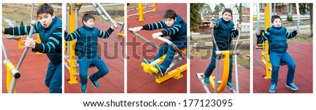 The boy  on outdoor sport ground / gym - stock photo