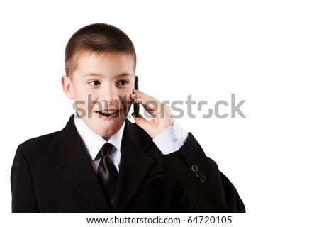 The boy speaks by phone, isolated on white - stock photo