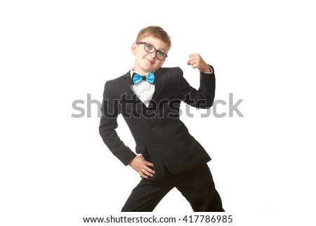 the boy student in a suit and tie with glasses standing isolated on white background with with arms raised hands up
