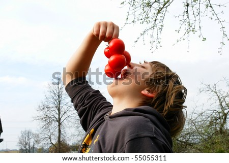 The boy wants to try the tasty tomato - stock photo
