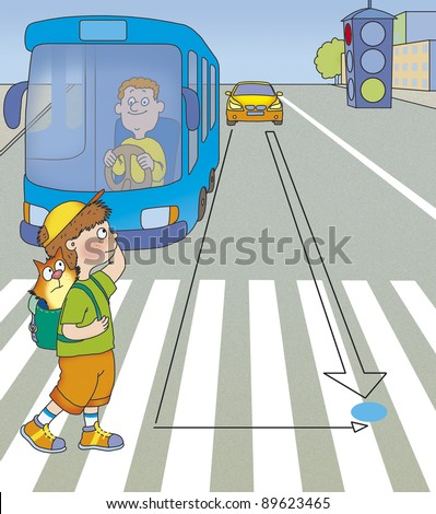 the boy was in the middle of the road, what to do? - stock photo