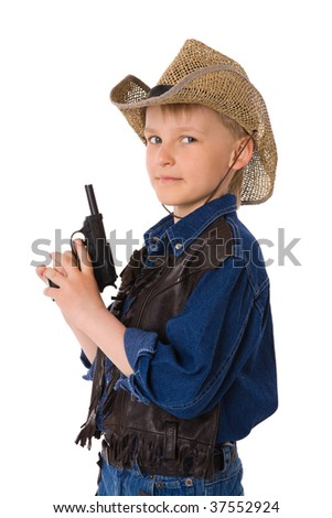 The boy wearing clothes of cowboy isolated on white - stock photo