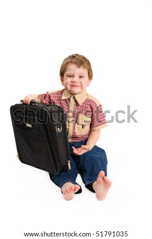 The boy with a case on a white background