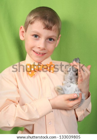 the boy with a nice rabbit