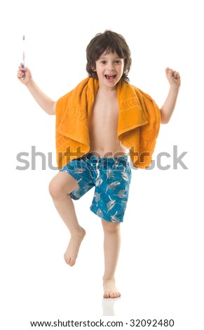 The boy with a tooth-brush - stock photo