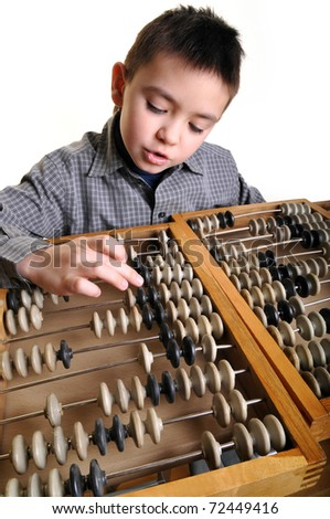 The boy with abacus - stock photo