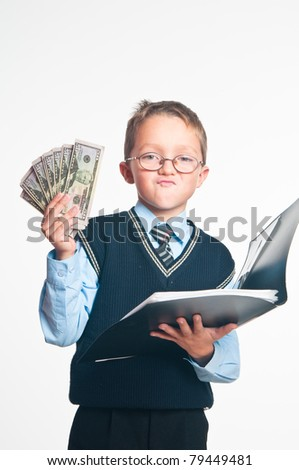 The boy with an open folder for papers and dollars in hands on a white background