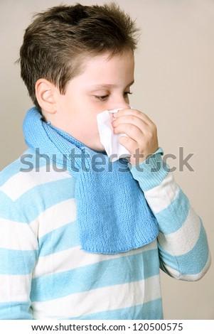The boy with handkerchief - stock photo