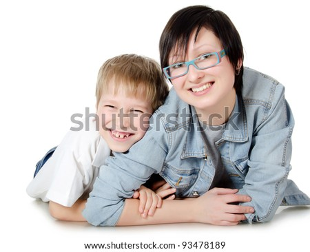The boy with sister isolated on white