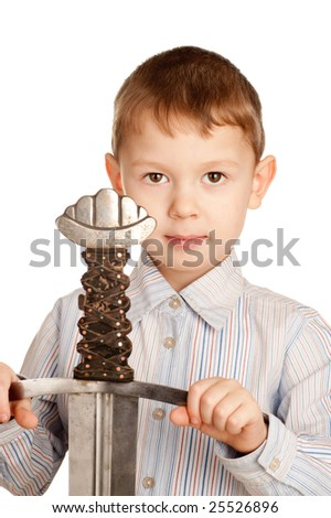 The boy with we throw. A photo on a white background. - stock photo