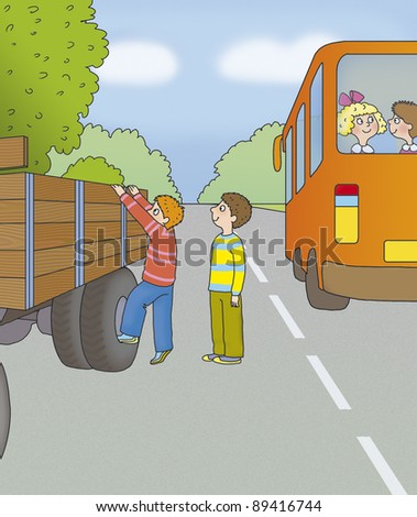 the boys are going to ride in a truck, correct? - stock photo
