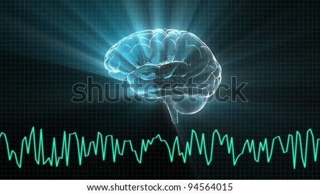 the brain and wave render for medical and biology concept - stock photo