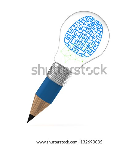 the brain idea creative as pencil lightbulb creative concept - stock photo