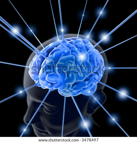 The brain is being energized through the strings. The concept of intelligence.
