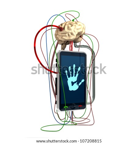 the brain is connected to a mobile phone - stock photo