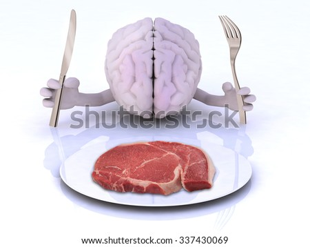 the brain with hands and utensils in front of an steak, 3d illustration - stock photo
