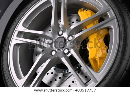 The brake system of a sport car. Closeup. 3d illustration - stock photo