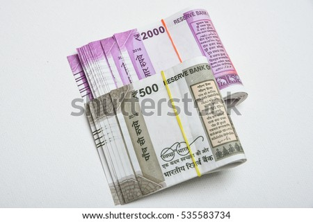 Brand New Indian Currency Bank Notes Stockfoto (Lizenzfrei ...