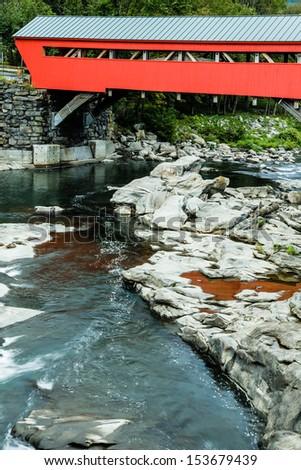The brand new Taftsville Covered Bridge in Quechee Vermont. - stock photo