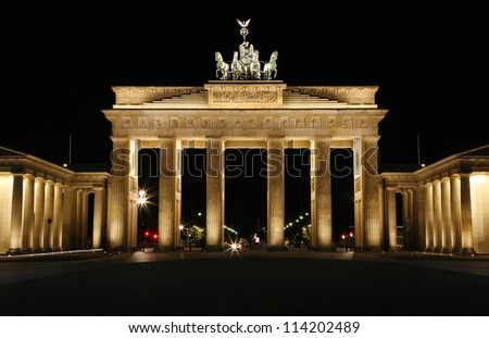 The Brandenburg Gate at night. Berlin, Germany. - stock photo