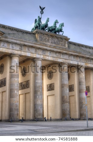 The Brandenburg Gate (German: Brandenburger Tor) is a main symbols of Berlin and Germany. Built by Carl Gotthard Langhans from 1788 to 1791. HDR composite (5 exposures) shots. - stock photo