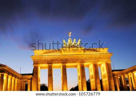 "The ""Brandenburger Tor"" at night, Berlin, Germany - stock photo"