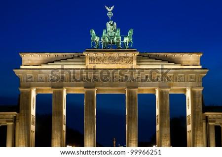 The Brandenburger Tor (Brandenburg Gate) in the evening in Berlin, Germany - stock photo