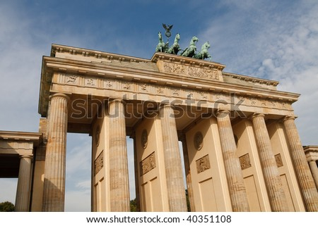 The Brandenburger Tor (Brandenburg Gate) is THE landmark of Berlin, Germany. - stock photo