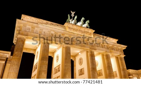 The Brandenburger Tor (Brandenburg Gate), the main landmark of Berlin, Germany, Europe, at night - stock photo