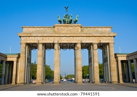 The Brandenburger Tor in Berlin early in the morning - stock photo