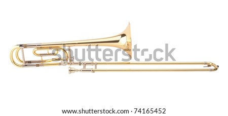 The brass trombone one of the music instrument of the orchestra - stock photo