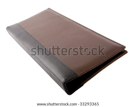 the brawn leather folder for paper isolated - stock photo