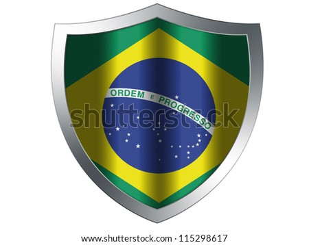 The Brazilian flag painted on  protection shield