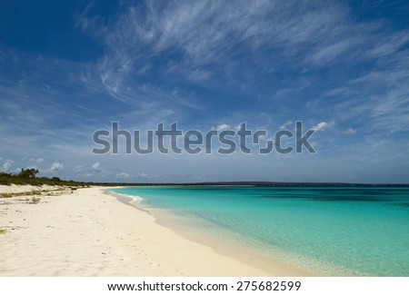 The breathtakingly beautiful Caribbean beach, Bahia de las Aguilas in the UNESCO world heritage Jaragua National Park, Dominican Republic