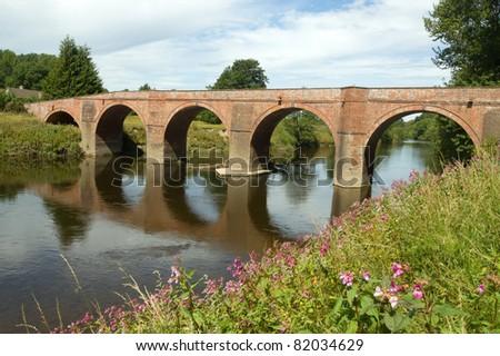 The Bredwardine Bridge over river Wye in Herefordshire, England. - stock photo