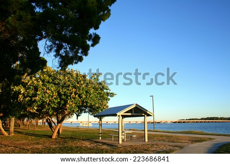 The Bribie Island Bridge seen from Sylvan Beach across Pumicestone Passage on Bribie Island.