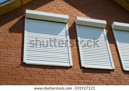 Brick Wall Windows Rolling Shutters Stock Photo 331927121 Shutterstock