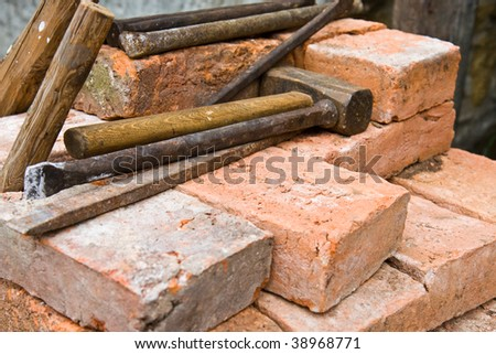 the bricks and old tools