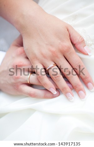The bride and groom hands together - stock photo