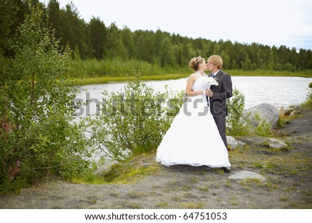 The bride and groom on the nature of the pond - stock photo