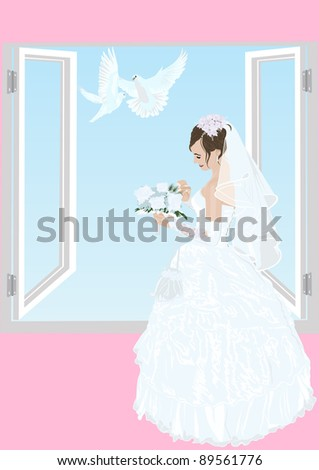 The bride near an open window in her wedding dress with a bouquet of flowers and two white doves flying - stock photo