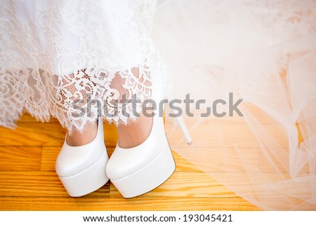 The bride on her wedding day. Morning bride.  - stock photo