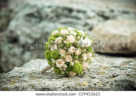 the bride's bouquet. wedding flowers. wedding - stock photo