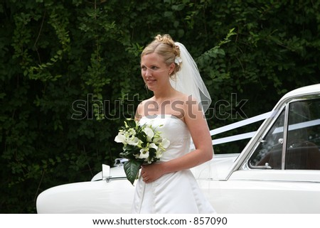 The bride steps out of her car - stock photo