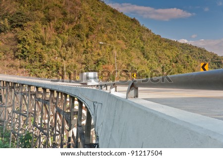 The bridge across the mountains. Bridge named Pho Khun Pha Muang. The highest bridge pier in the country. In Phetchabun province, Thailand.