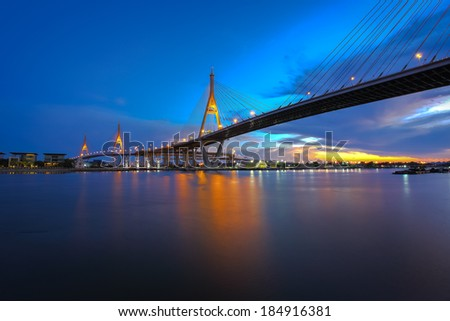 The Bridge across the river at dusk, The Industrail Ring Road (Bangkok, Thailand)