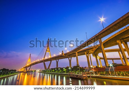 The Bridge across the river at twilight, The Industrail Ring Road (Bangkok, Thailand)