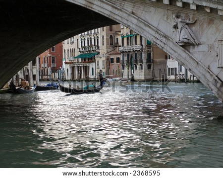 the bridge and gondolas in venice. italy - stock photo