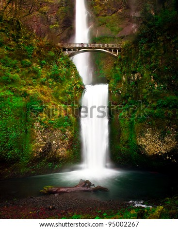 The bridge and view of lower Multnomah Falls, Oregon. - stock photo