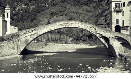 The Bridge at Dolceacqua, Province of Imperia, Italy